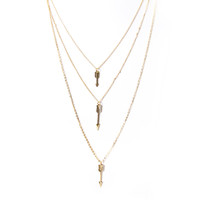 Triple Arrow Layered Necklace Set In Gold