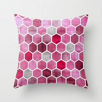 Pink Ink - watercolor hexagon pattern Throw Pillow by Micklyn