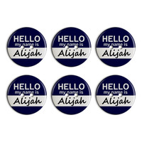 Alijah Hello My Name Is Plastic Resin Button Set of 6