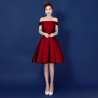 Burgundy Boat Neck A-Line Short Party Dress Formal Gowns Knee Length Short robe de Cocktail Party Dresses Homecoming Dresses