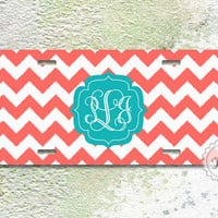 License plate - Teal fancy monogram on cute coral chevron , aluminium car tag , front tag
