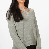 Lacey Oversized Strap Neck Jumper | Boohoo