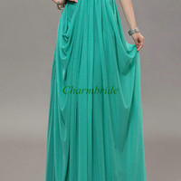 long chiffon and lace prom dresses / simple elegant gowns for evening party / cheap red holiday dress on sale