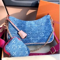 Hipgirls Louis Vuitton LV New Women's Denim Two-Piece Crossbody Bag Shoulder Bag