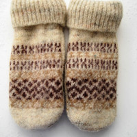Women's Classic Wool Mittens Crafted from a Recycled Off-white Printed Sweater and Lined with New Fleece