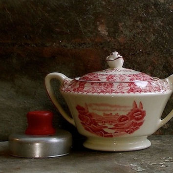 Vintage Red Transferware Sugar Bowl, Wood and Sons, Burslem, Staffordshire, England