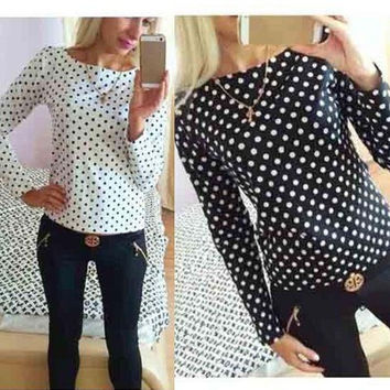 Chiffon Women Sports Hoodies Long Sleeve Round Necked Polka Dot Shirt blouse b4233