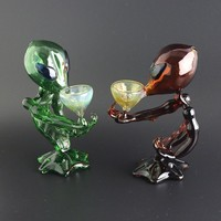 Aliens G Spot Water Smoking Pipes GlassGreen Blue Brown Clear Colors 16cm