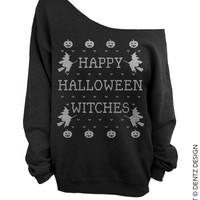 Happy Halloween Witches - Black Slouchy Oversized Sweatshirt