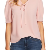 CeCe Ruffle V-Neck Bow Tie Top | Nordstrom