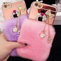 Luxury Bling Bowknot tassel Warm Soft Beaver Rabbit Fur Hair phone cases for iphone X 5s 6s 7plus 8 8 Plus protective phone back