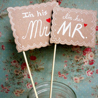 Mr. & Mrs. Photo Prop Signs - Wedding Decor