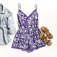 Purple and White Summer Romper