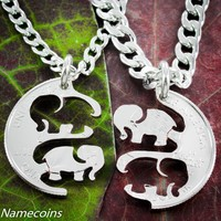 Elephant Necklaces, Interlocking hand cut quarter
