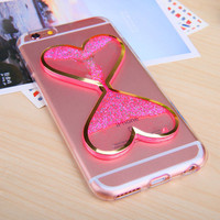 Heart shaped Hourglass Liquid Quicksand Noctilucent Anti-knock Case Transparent Clear Soft TPU Back Cover for  Iphone 6 6S 6 Plus -0324