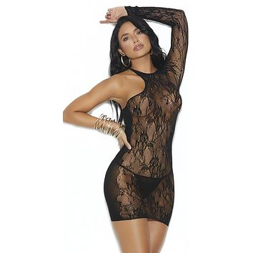 Sexy Boom Opaque Lace One Shoulder Mini Dress