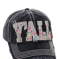 Floral Hey Ya'll Distressed Cotton Baseball Cap Hat Black, Embroidered On Torn Denim Decor