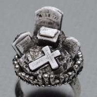 Spooky  Halloween Jewelry  - Gothic Cameo Ring  - Creepy Old  Victorian Cemetery Style Cameo Ring with Tombstones - Zombie  Vampire