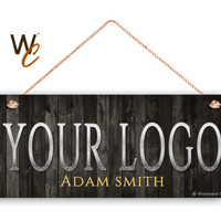 "Company Sign, Place Your Logo on Sign, Personalized 6""x14"" Sign, Promote Business or Boutique, Rustic Dark Wood Style , Made To Order"