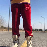 nike velour jogger unisex fashion velvet letter embroidery thickened sweatpants couple leisure pants trousers