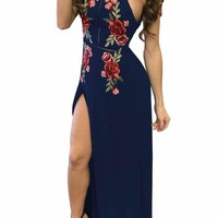 Navy Blue High Split Floral Embroidered Maxi Dress
