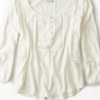 AEO Women's Embroidered Swing Top (Chalk)