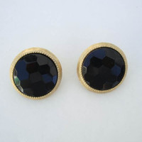 Black Faceted Glass Clip On Earrings Hexagonal Cut Vintage Jewelry