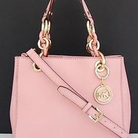 NEW Michael Kors Saffiano Leather Small Cynthia NS Satchel Purse ~Pale Pink
