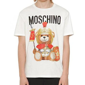 MOSCHINO Summer Fashion Men Women Classic Armor Bear Print T-Shirt Top