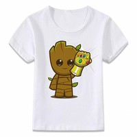 Kids Clothes T Shirt Groot Infinity Gauntlet Infinity War Avengers Children T-shirt for Boys and Girls Toddler Shirts Tee