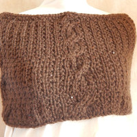 Brown shrug caplet hand knit using brown yarn with attached sequins