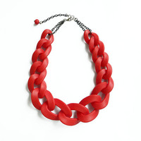 Red Oversized Chain Necklace, Cherry Red Chain Link Necklace, Polymer Clay Statement Necklace
