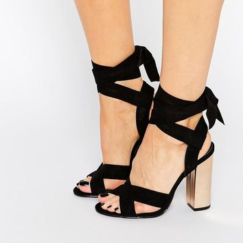 Truffle Collection   Truffle Tie Ankle High Block Heel Sandals at ASOS