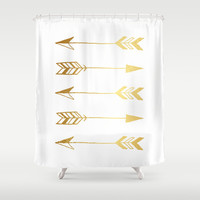Faux gold foil arrows Shower Curtain by Jaclyn Rose Design | Society6
