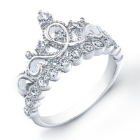 925 Sterling Silver Crown Ring / Princess Ring:Amazon:Jewelry