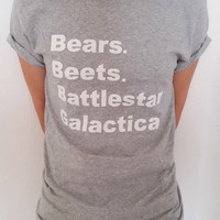 Bears, Beets, Battlestar Galactica Tv Show  Unisex t-shirt FUNNY T SHIRT Tumblr tshirt womens, T-Shirt The office sassy cute