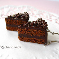 Realistic chocolate Cake slices with chocolate chips earrings