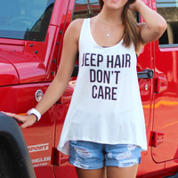Jeep Hair Don't Care Tank {White}