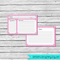 Valentine's Day Recipe Cards – Pink Heart Pattern - 4x6 Printable Recipe Card Set – two sided recipe cards - INSTANT DOWNLOAD