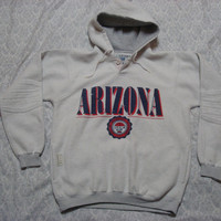 Vintage Retro Men's Gear For Sports University of Arizona Hoody U of A Wildcats Grey White Sweatshirt Small