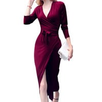 2016 Winter Fashion All-match Sexy Lace V-neck Long Sleeve Slim Women Dresses Elegant High End Atmosphere Sashes Wrap Dresses