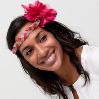 Dionard - Pink and Cream Headband with detail of organza and tulle Flower