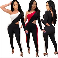fhotwinter19 hot selling women's fashion sexy solid color stitching single-sleeved hollow jumpsuit
