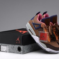 Beauty Ticks Vawa Mens Air Jordan 4 Retro Leather Lv Basketball Shoes Grey Brown