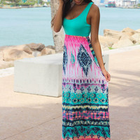 Mint Maxi Dress With Printed Bottom