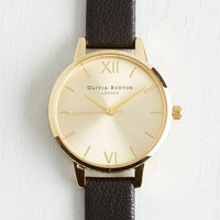 Luxe Undisputed Class Watch in Black Gold - Midi by Olivia Burton from ModCloth