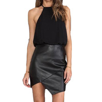New Nightclub Brief Fashion Black Sleeveless Leather Chiffon Package Hip Bodycon Dress Women Party Sexy Faux Two Piece Outfits