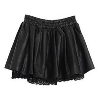 PU Skater Skirt With Lace Detail   Choies