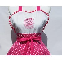 """""""They See me Rollin, They Hatin""""/""""Whip it Good """"  Reversible Apron with Hot Pink Polka Dot"""