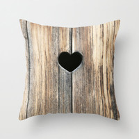 Throw Pillow Cover - Heart in Wood - Brown, Rustic, Beige